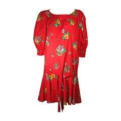 Yves Saint Laurent Red Cotton Drop Waist Dress with Floral Motif Size 36