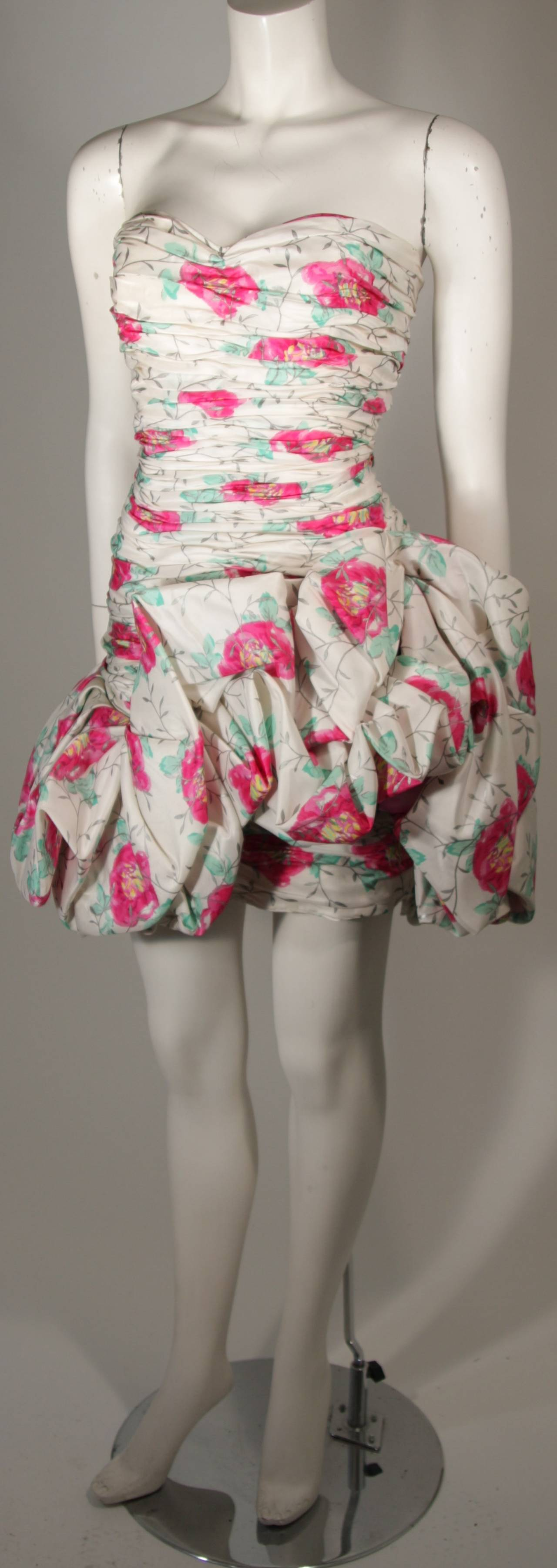 Gray Ungaro White Silk Cocktail Dress with Pink & Green Floral Design Size 8 For Sale