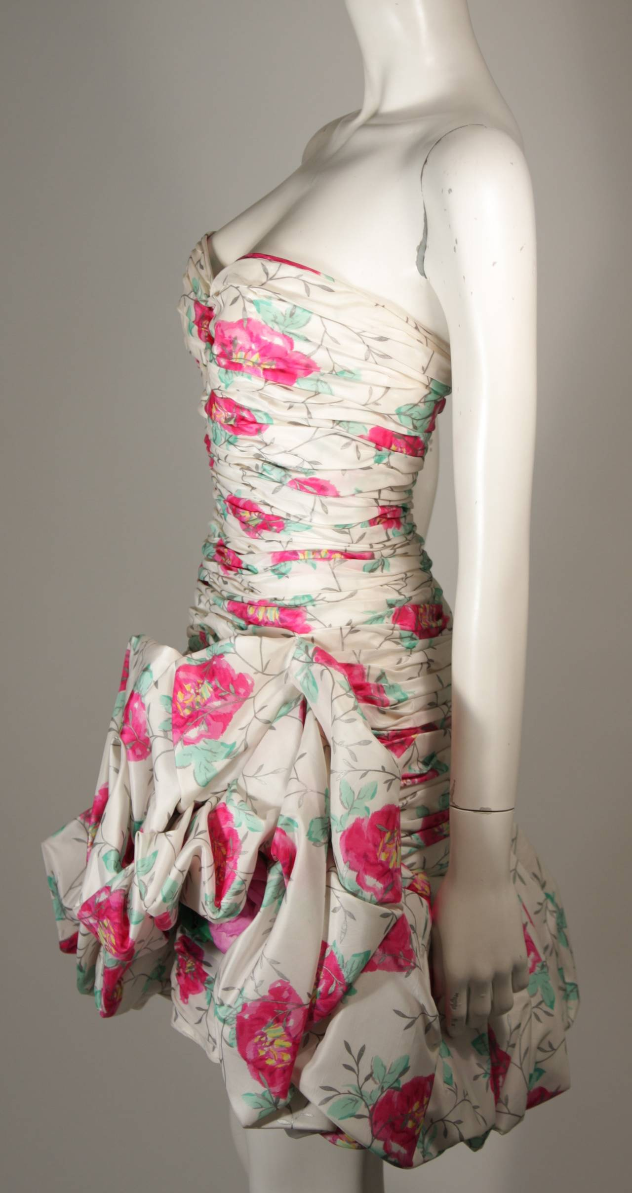 Ungaro White Silk Cocktail Dress with Pink & Green Floral Design Size 8 For Sale 1