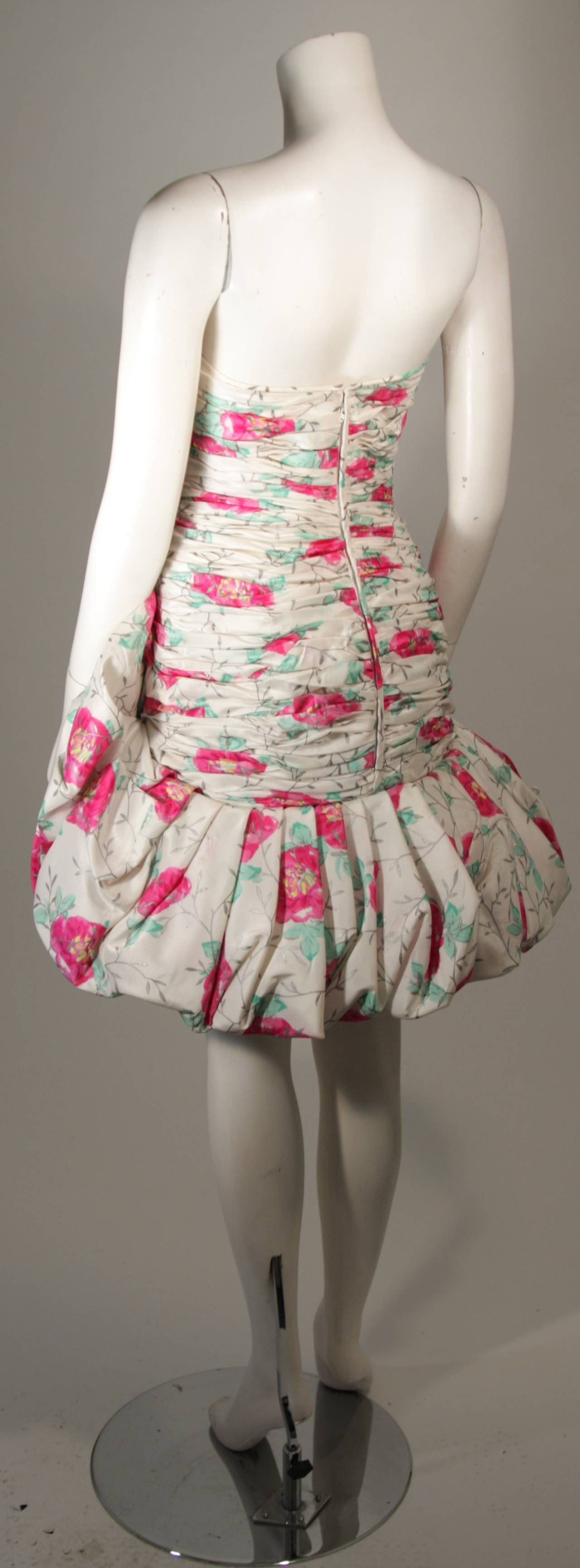 Ungaro White Silk Cocktail Dress with Pink & Green Floral Design Size 8 For Sale 2