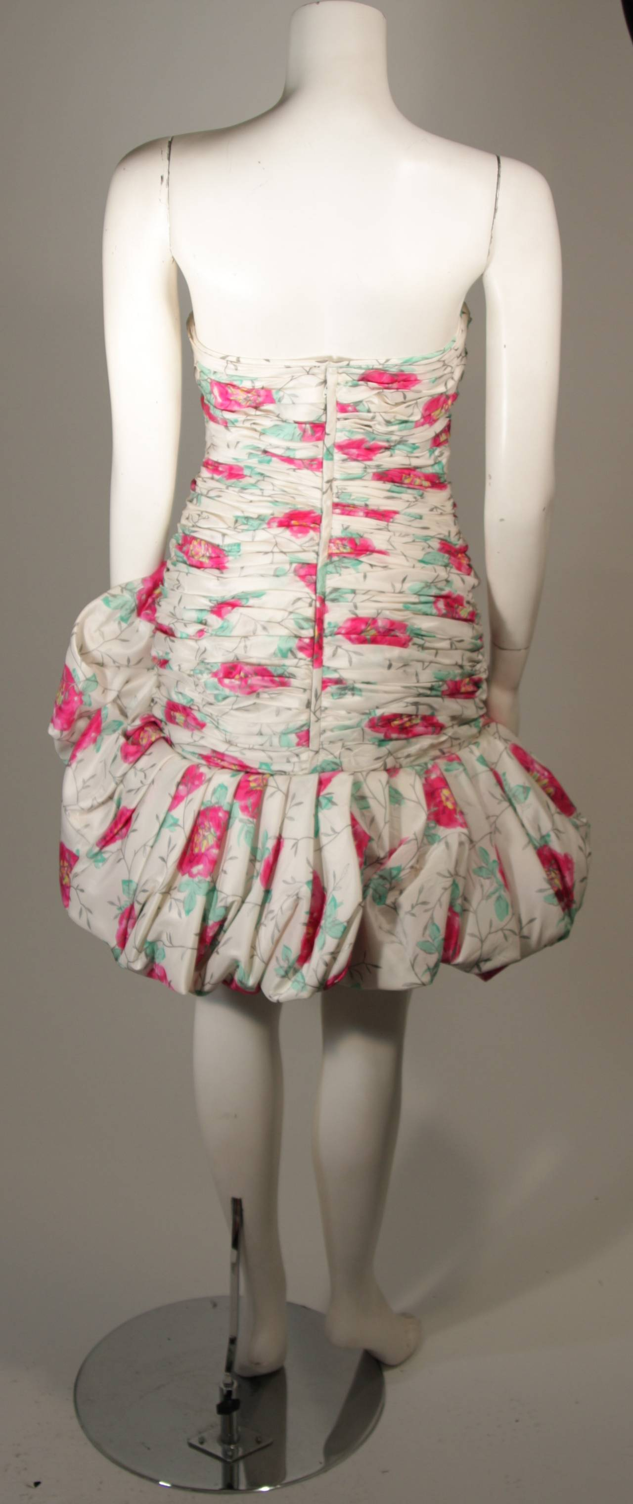 Ungaro White Silk Cocktail Dress with Pink & Green Floral Design Size 8 For Sale 3