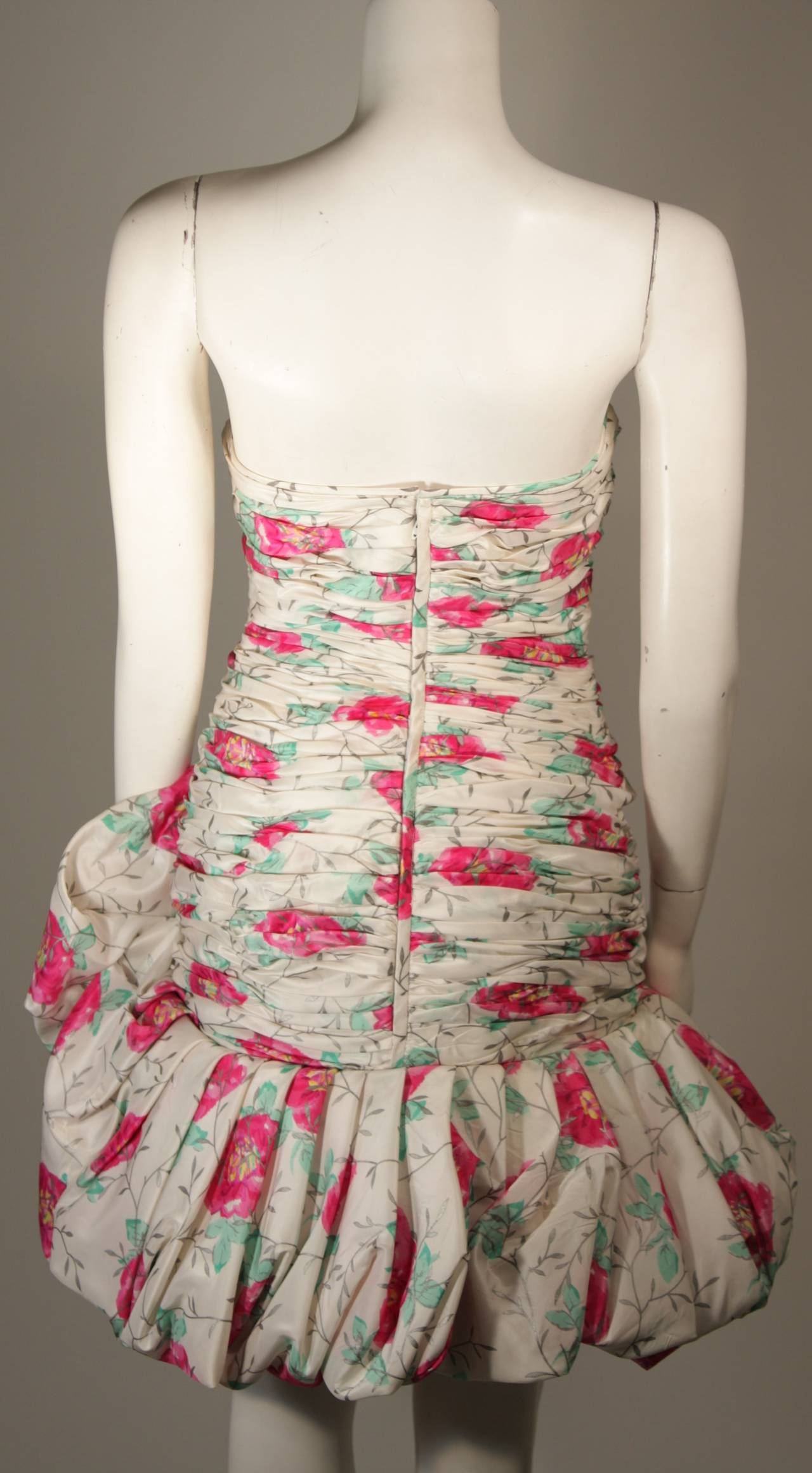 Ungaro White Silk Cocktail Dress with Pink & Green Floral Design Size 8 For Sale 4