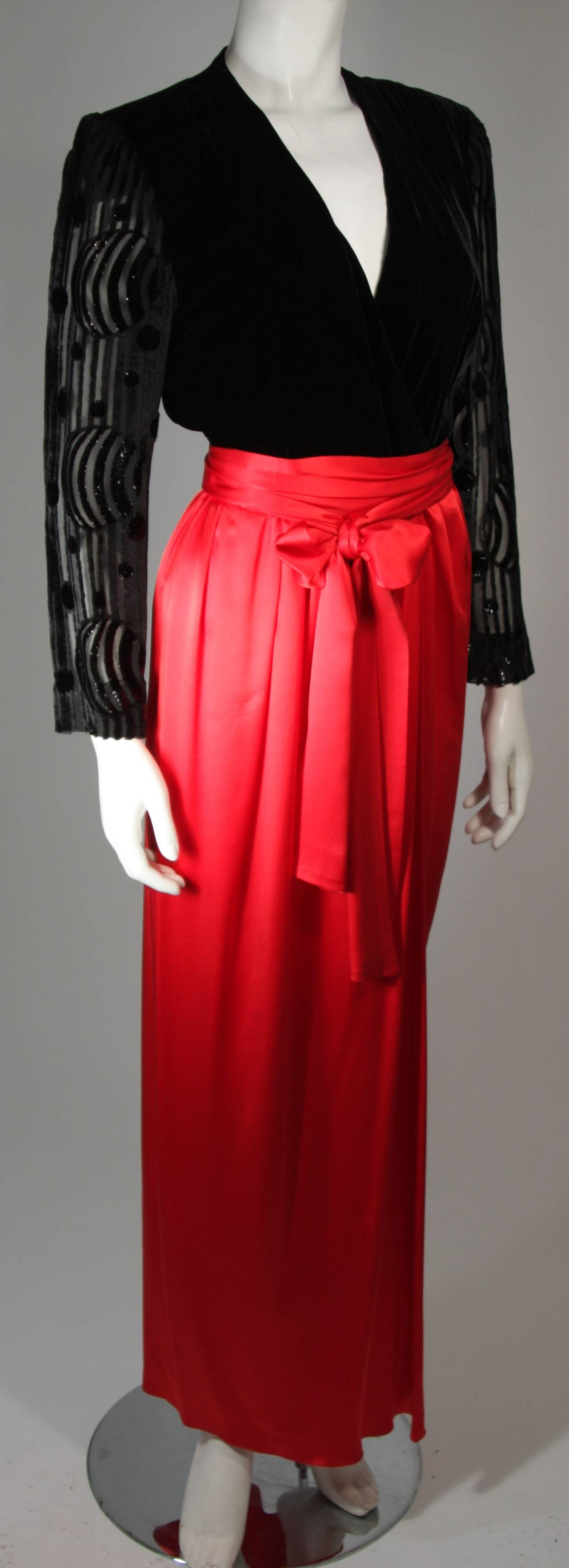 Women's Adele Simpson Burnout Black Velvet and Red Silk Gown Size Small For Sale