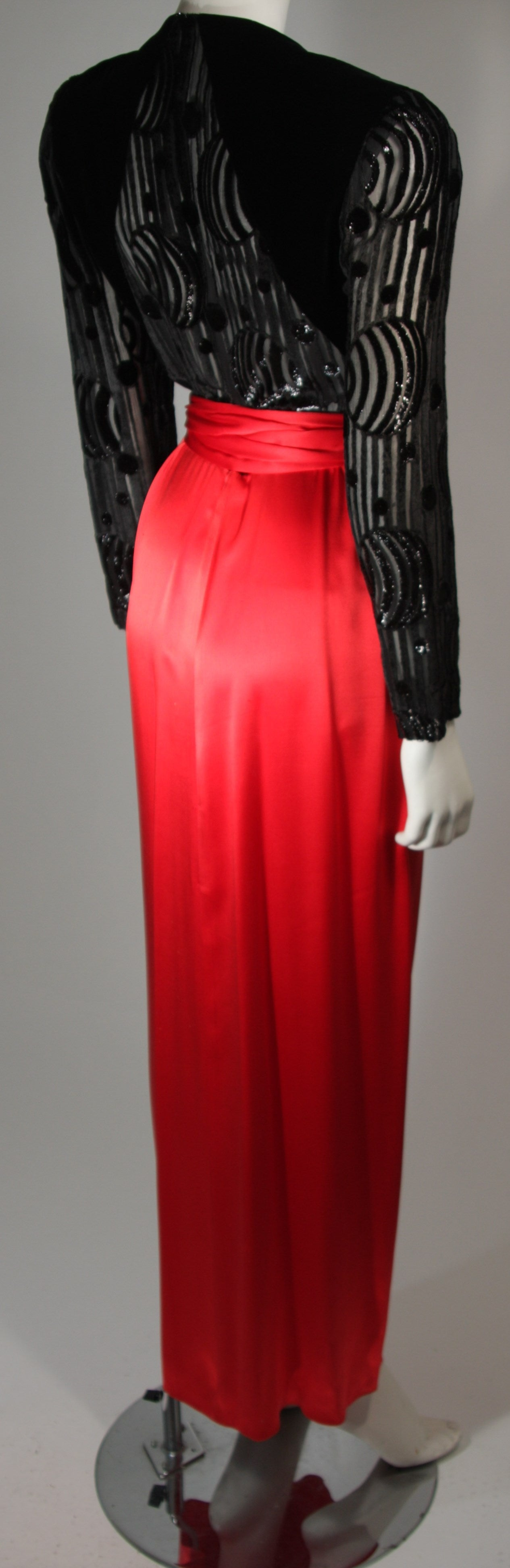 Adele Simpson Burnout Black Velvet and Red Silk Gown Size Small For Sale 2