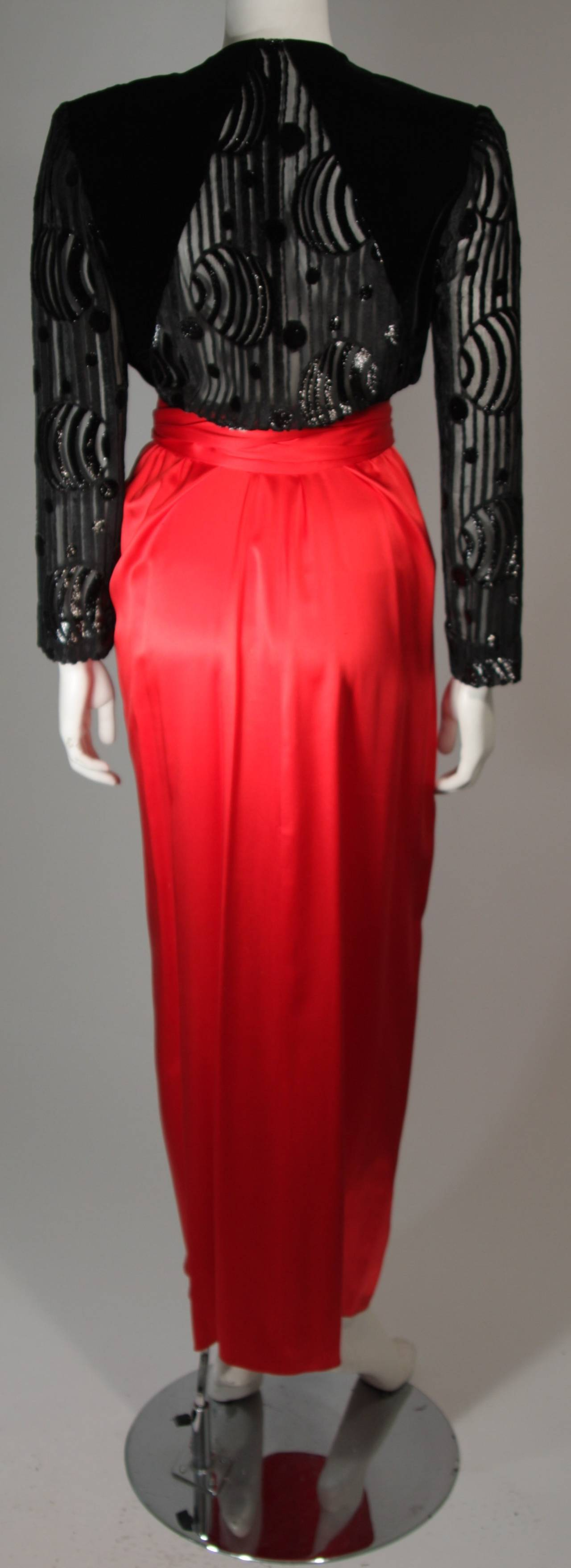 Adele Simpson Burnout Black Velvet and Red Silk Gown Size Small For Sale 3
