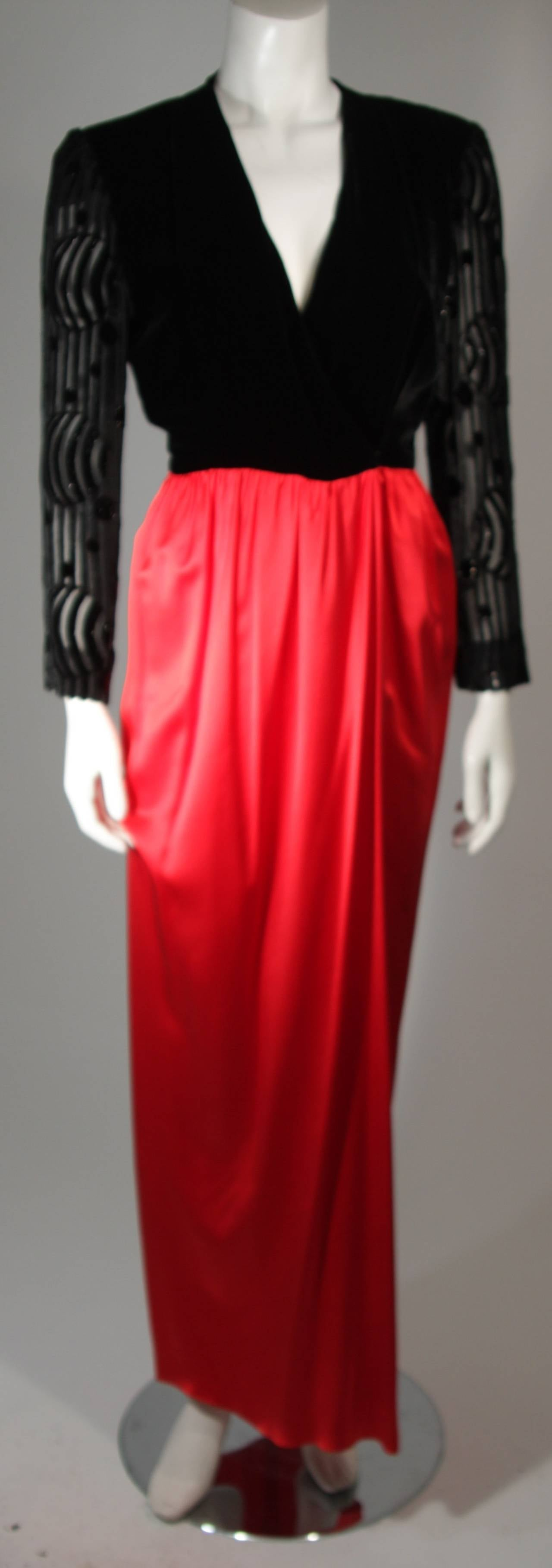 Adele Simpson Burnout Black Velvet and Red Silk Gown Size Small For Sale 4