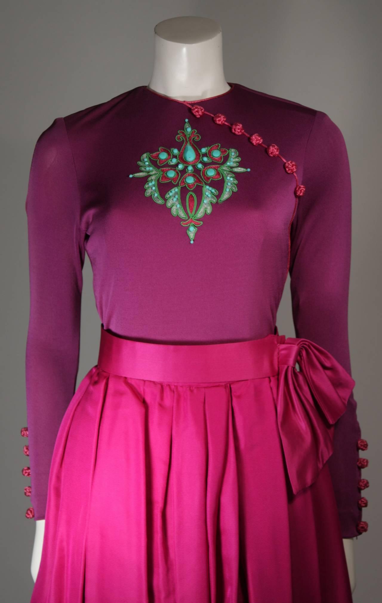Bob Mackie Evening Skirt Set Ensemble in Purple Size Small 3