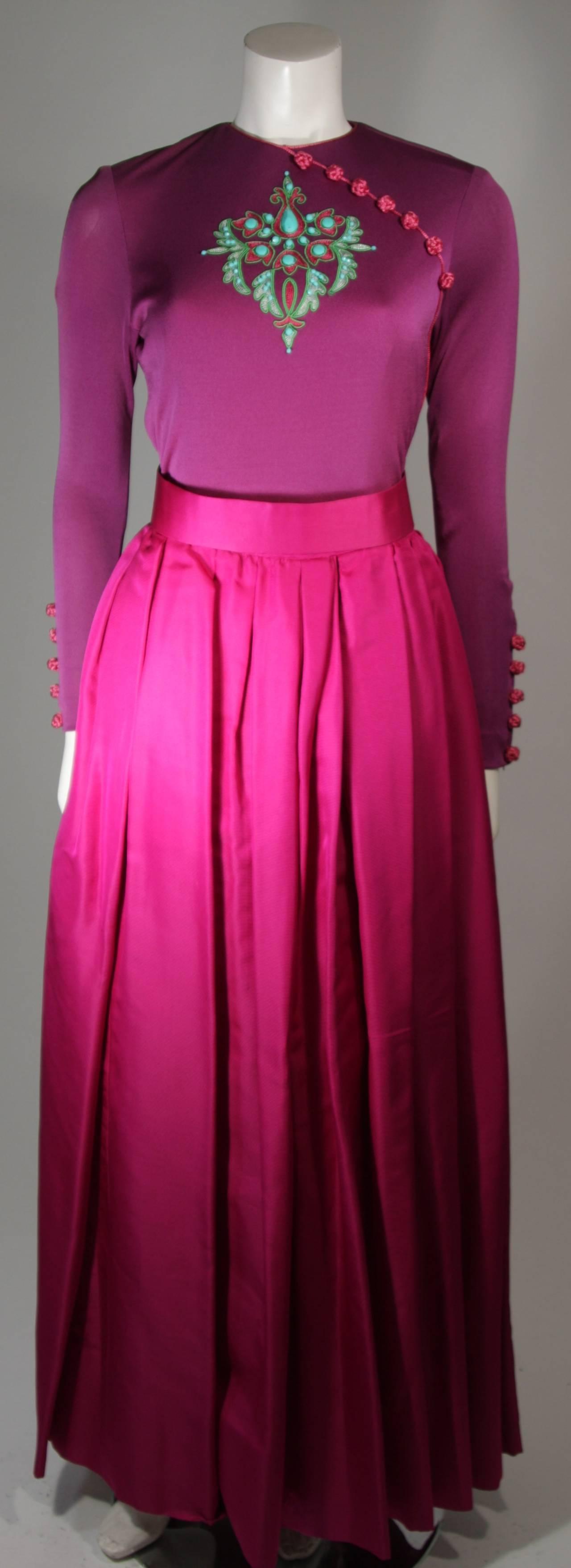 Bob Mackie Evening Skirt Set Ensemble in Purple Size Small 2
