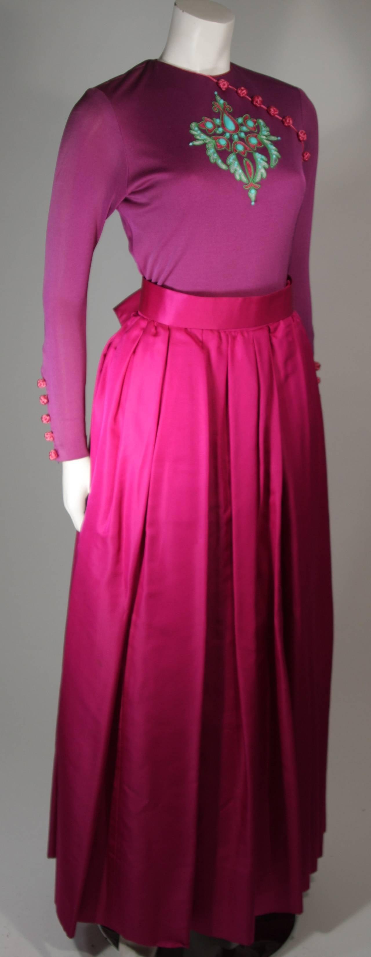 Bob Mackie Evening Skirt Set Ensemble in Purple Size Small 4