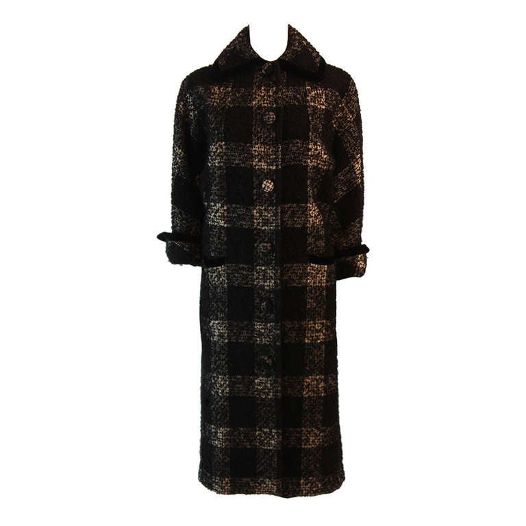 1950's Don Loper White and Black Velvet Trim Checker Plaid Cocoon Coat 1
