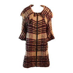 Bonnie Cashin Plaid Multi-Color Wool Coat with Leather Trim
