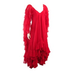 Ruben Panis Red Chiffon Ruffle Gown Property of Magda Gabor, sister of Zsa Zsa