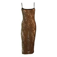 Amazing Future Ozbek Sheer Gold Metallic Knit Dress