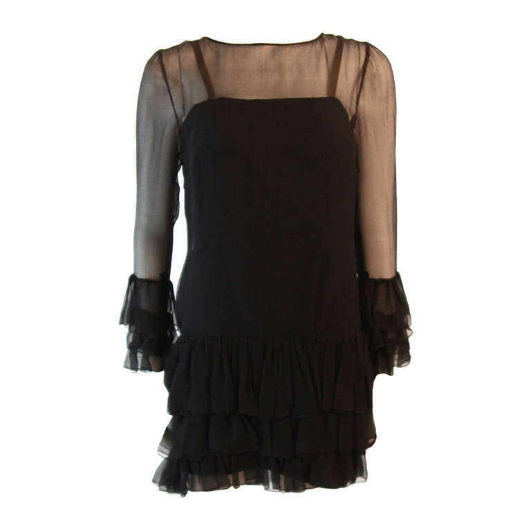Pauline Trigere Black Chiffon Dress Size S