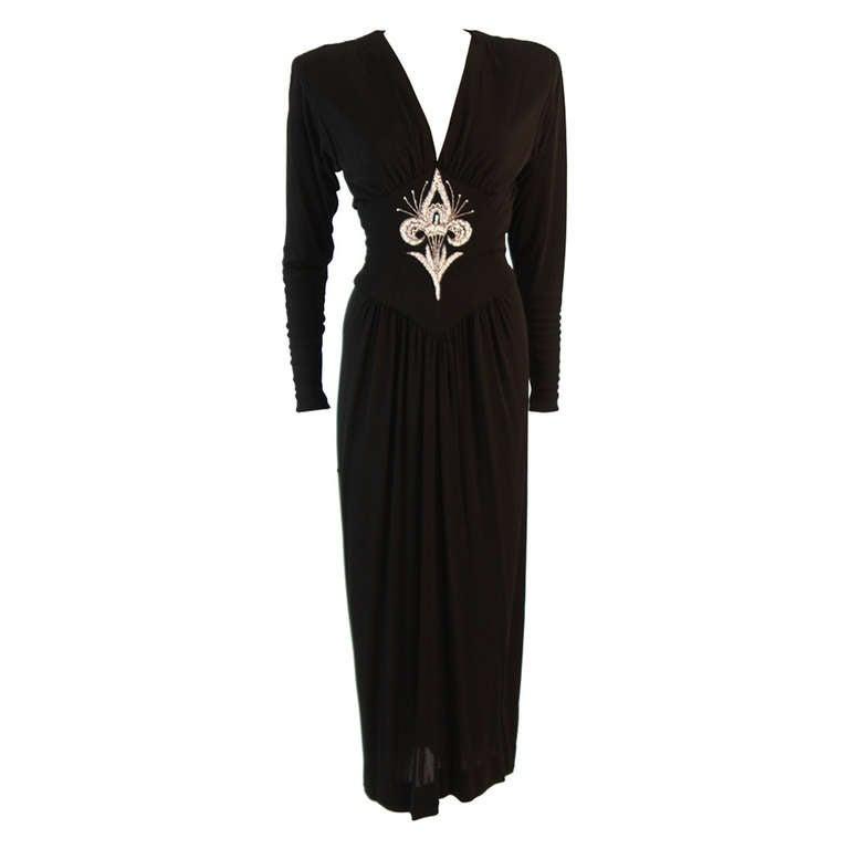 Bob Mackie Black Embellished Bodice Gown