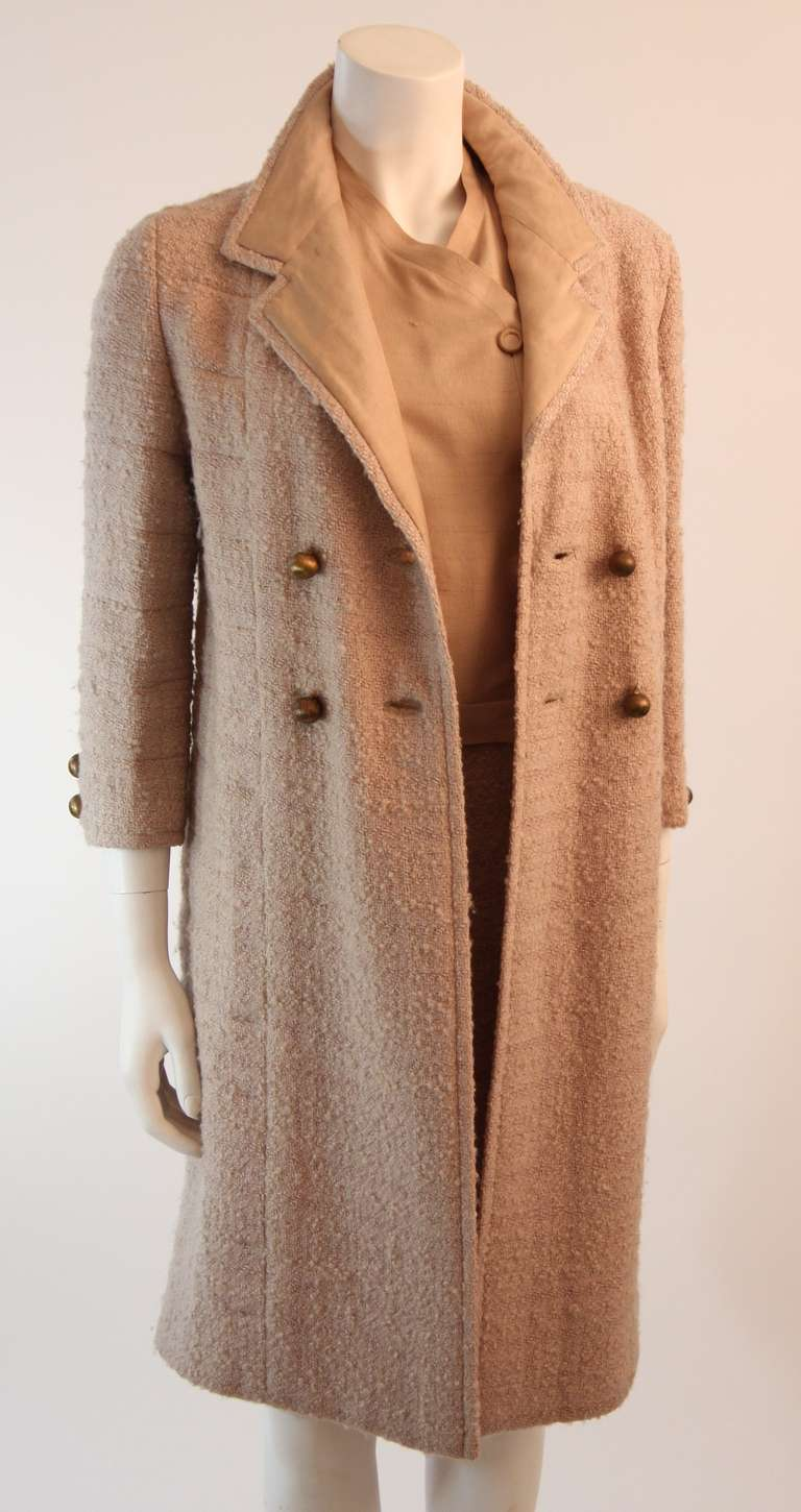 1960's Attributed to Chanel Couture Cream Boucle 3 Piece Tweed Suit 3