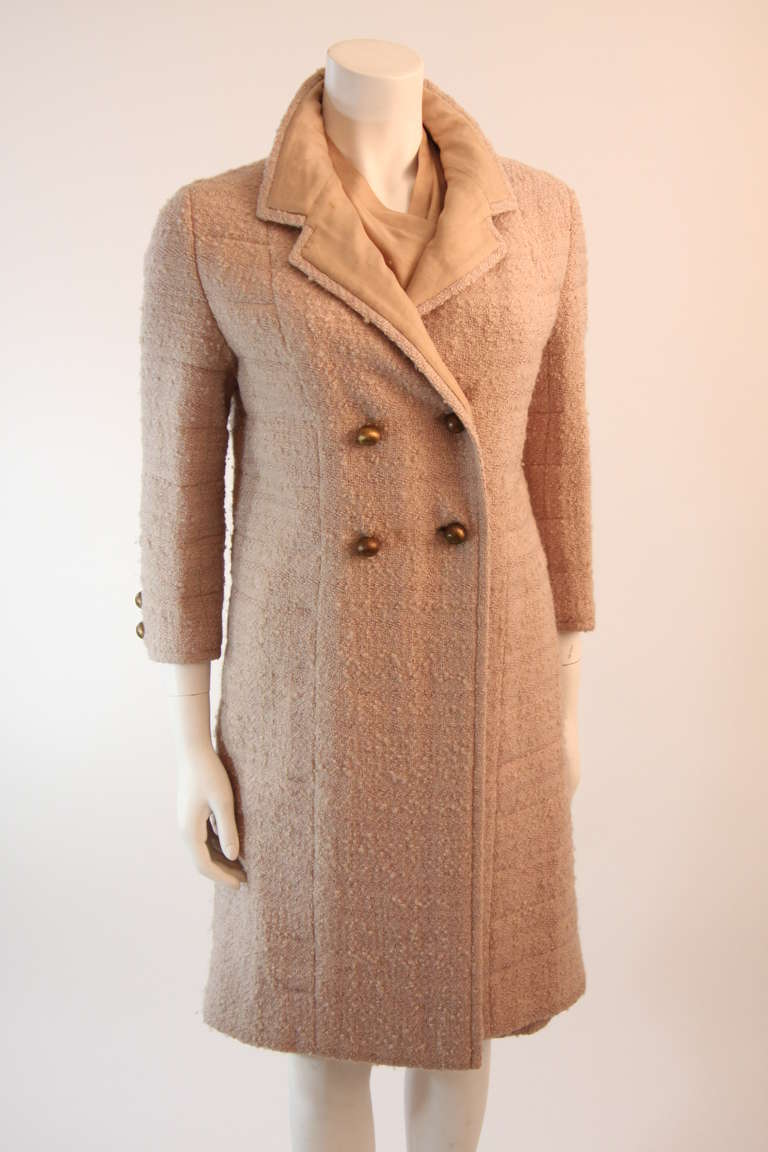 1960's Attributed to Chanel Couture Cream Boucle 3 Piece Tweed Suit 2