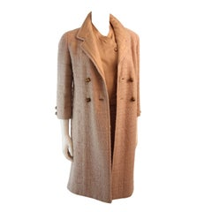 Chanel Haute Couture Cream Boucle 3 Piece Tweed Suit Circa 1960s