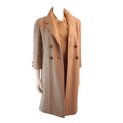 1960's Attributed to Chanel Couture Cream Boucle 3 Piece Tweed Suit