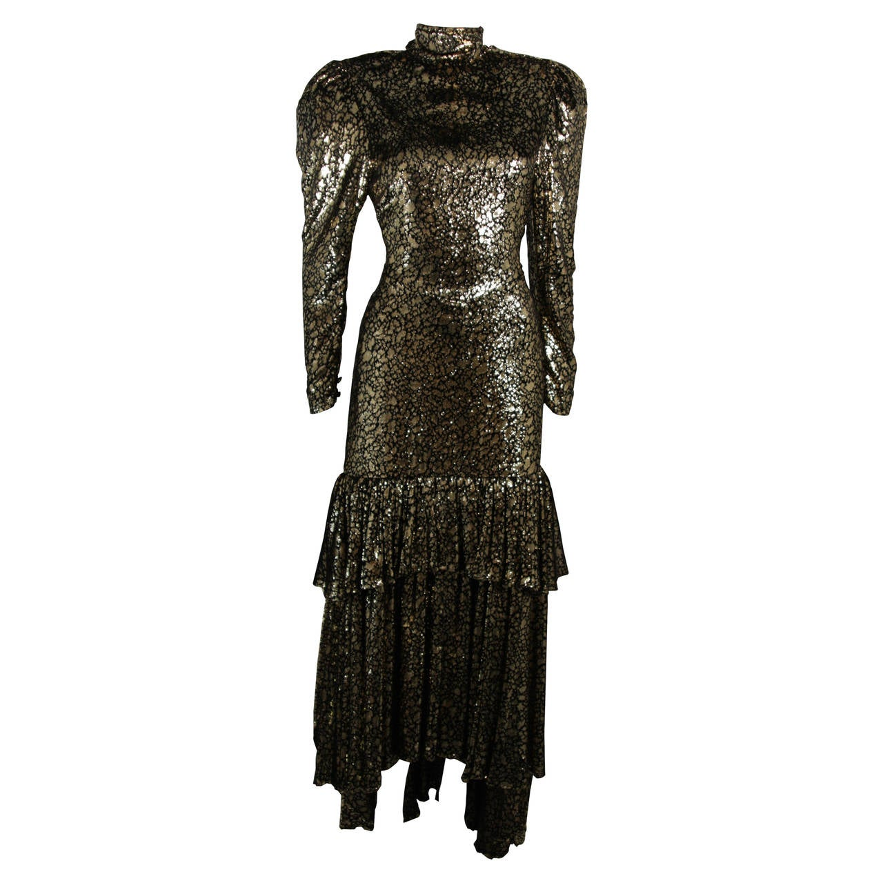 Sonia Rykiel Black and Gold Metallic Accented Tiered Gown Size Small