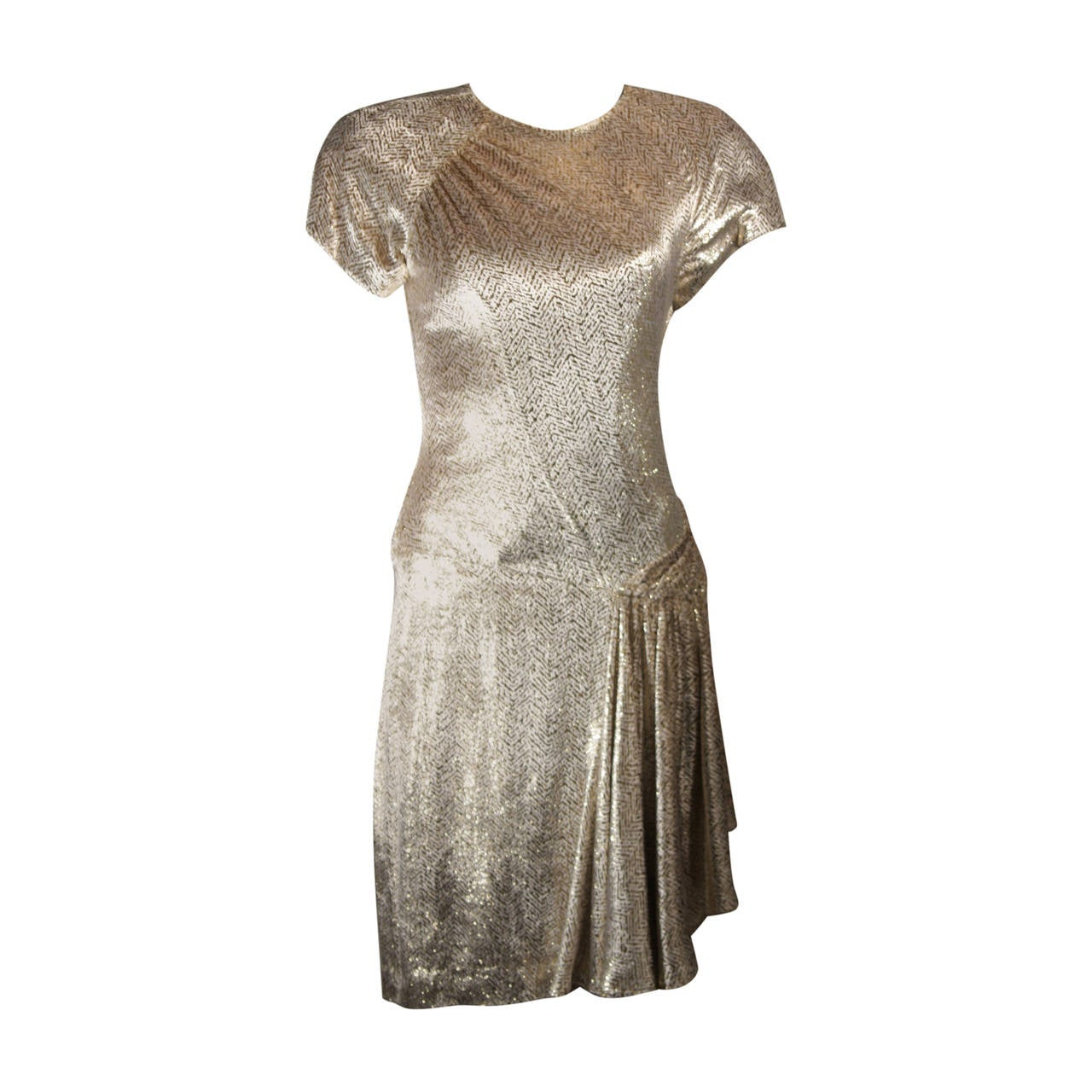 Vicky Tiel Ivory and Gold Velvet Texture Cocktail Dress Size 38 For Sale