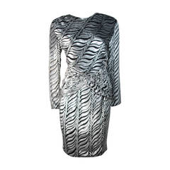 Vicky Tiel Black and Silver Burnout Striped Velvet Cocktail Dress Size Small