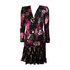 Vicky Tiel Black SilkSuit with Floral Motif and Pleated Chiffon Skirt Size Small