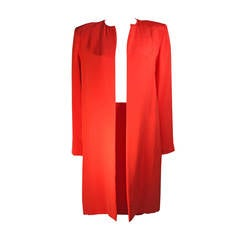 Vicky Tiel Orange Silk Skirt Suit Size Small