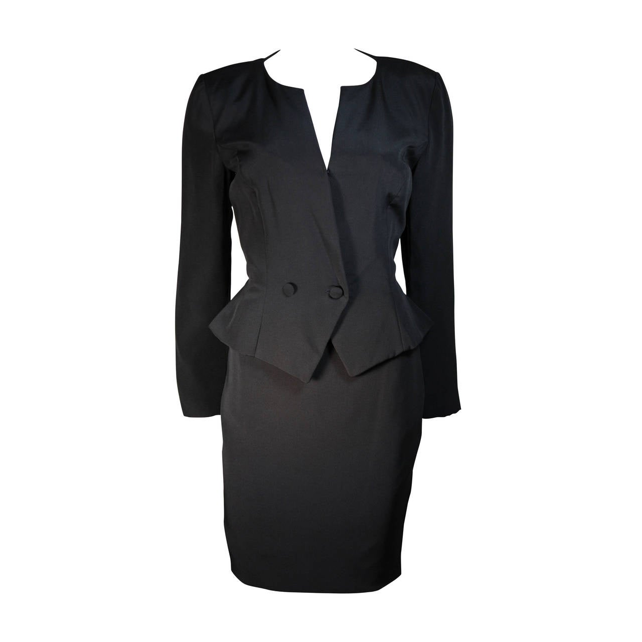 Vicky Tiel 3pc Black Silk Skirt Suit with Lace Back Panel Size Small