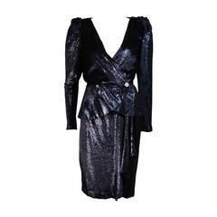 Vicky Tiel Navy Silk Metallic Skirt Suit Size 36