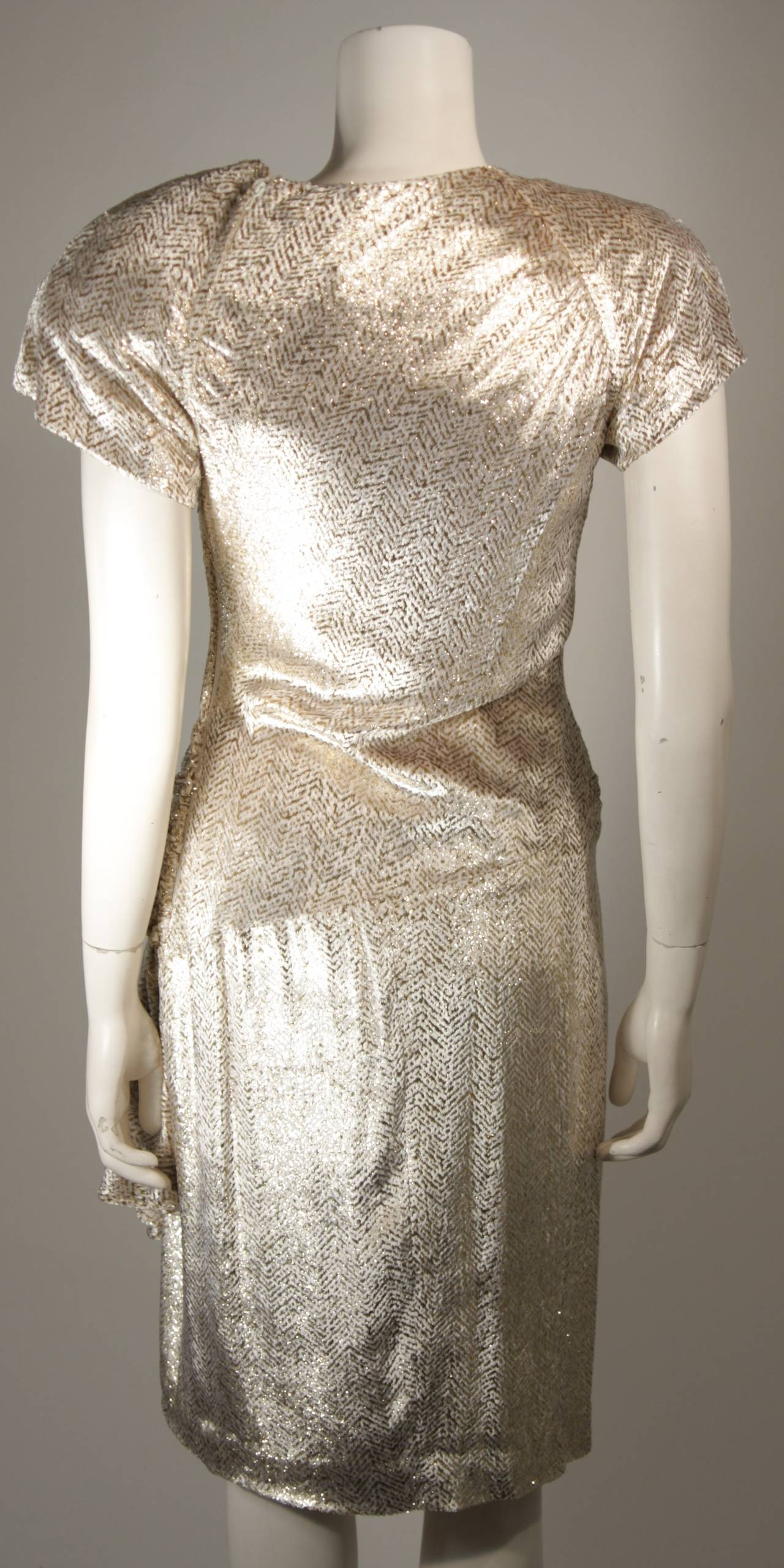 Vicky Tiel Ivory and Gold Velvet Texture Cocktail Dress Size 38 9