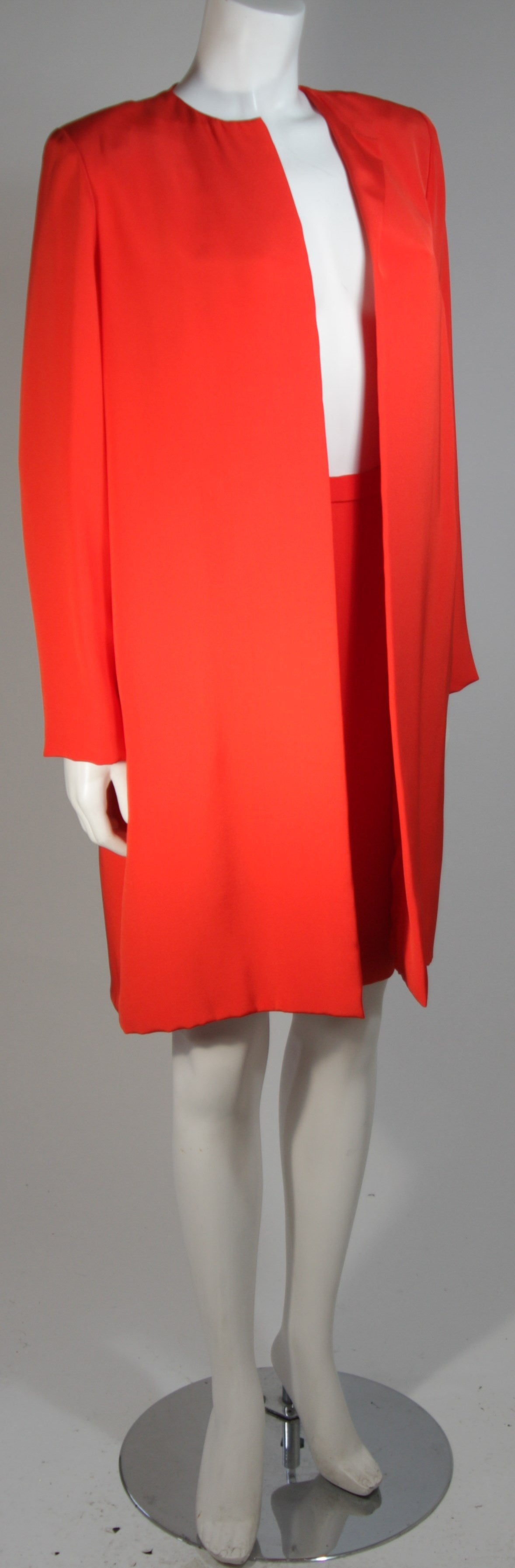 Red Vicky Tiel Orange Silk Skirt Suit Size Small For Sale