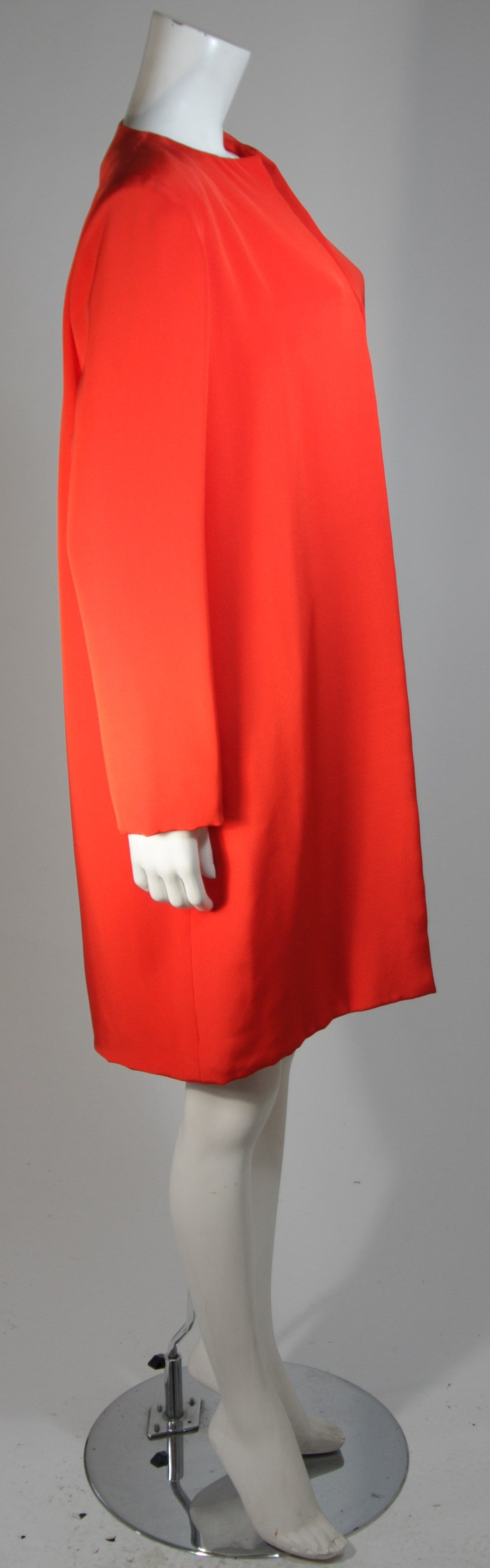 Women's Vicky Tiel Orange Silk Skirt Suit Size Small For Sale