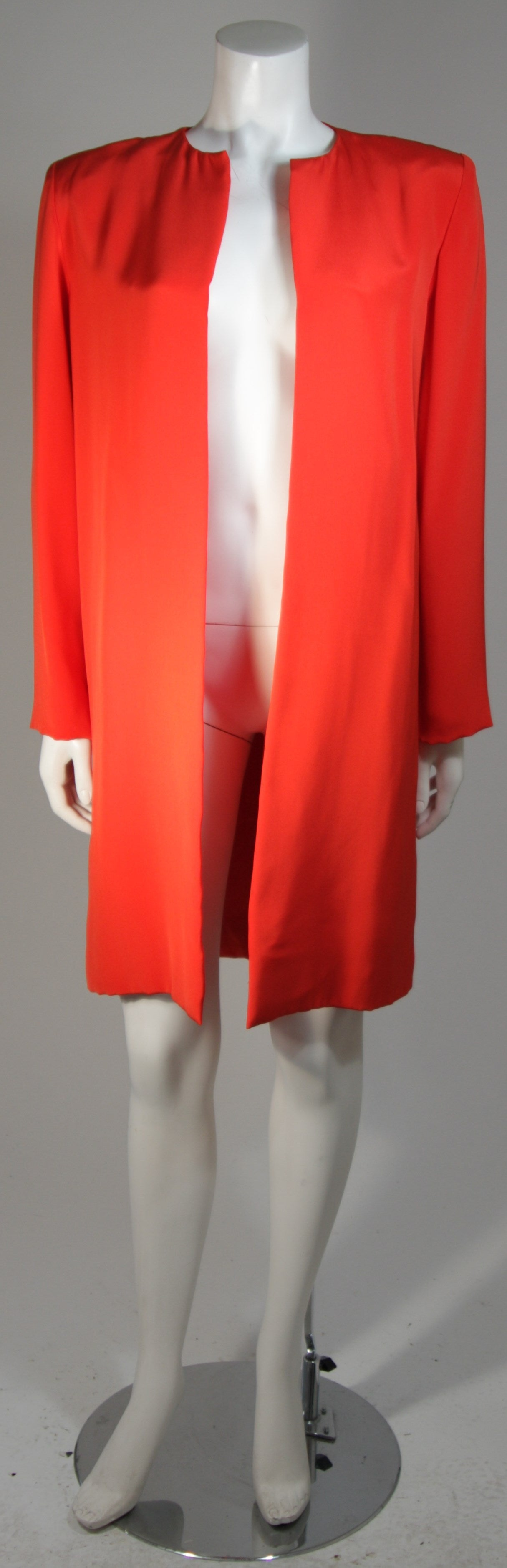 Vicky Tiel Orange Silk Skirt Suit Size Small For Sale 3
