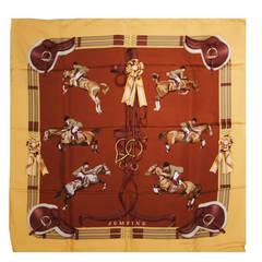 Hermes Jumping Equestrian Print Earthtone Silk Twill Scarf by LE DOUX w. Box