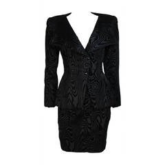 Vicky Tiel Black Silk Skirt Suit with Patterned Velvet Accents Size 38