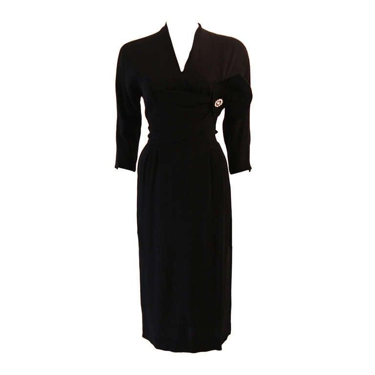 Beautiful 1950's Dorothy O'Hara Black Cocktail Dress