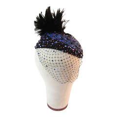 Striking 1960's Frank Olive France Embellished Hat