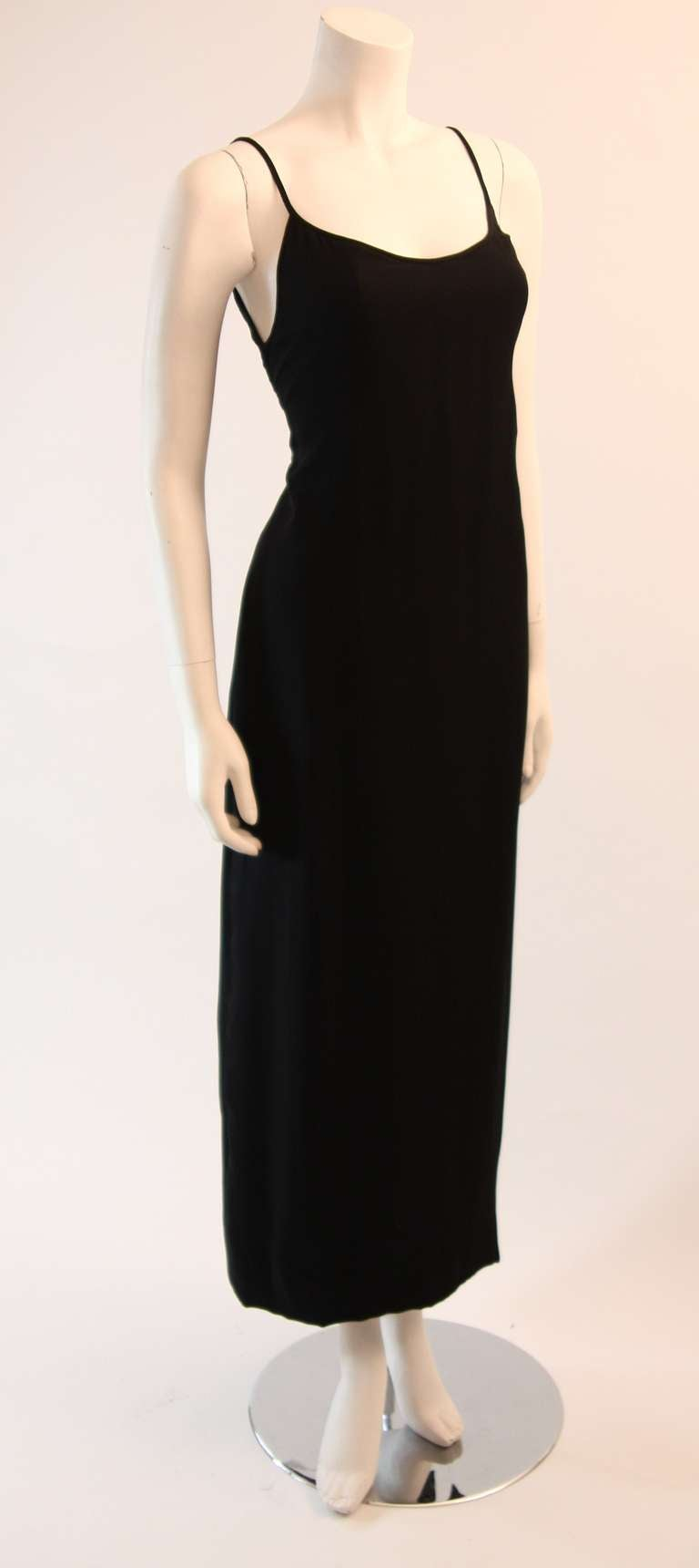 Sleek Galanos Black Silk Spaghetti Strap Slip Gown 2