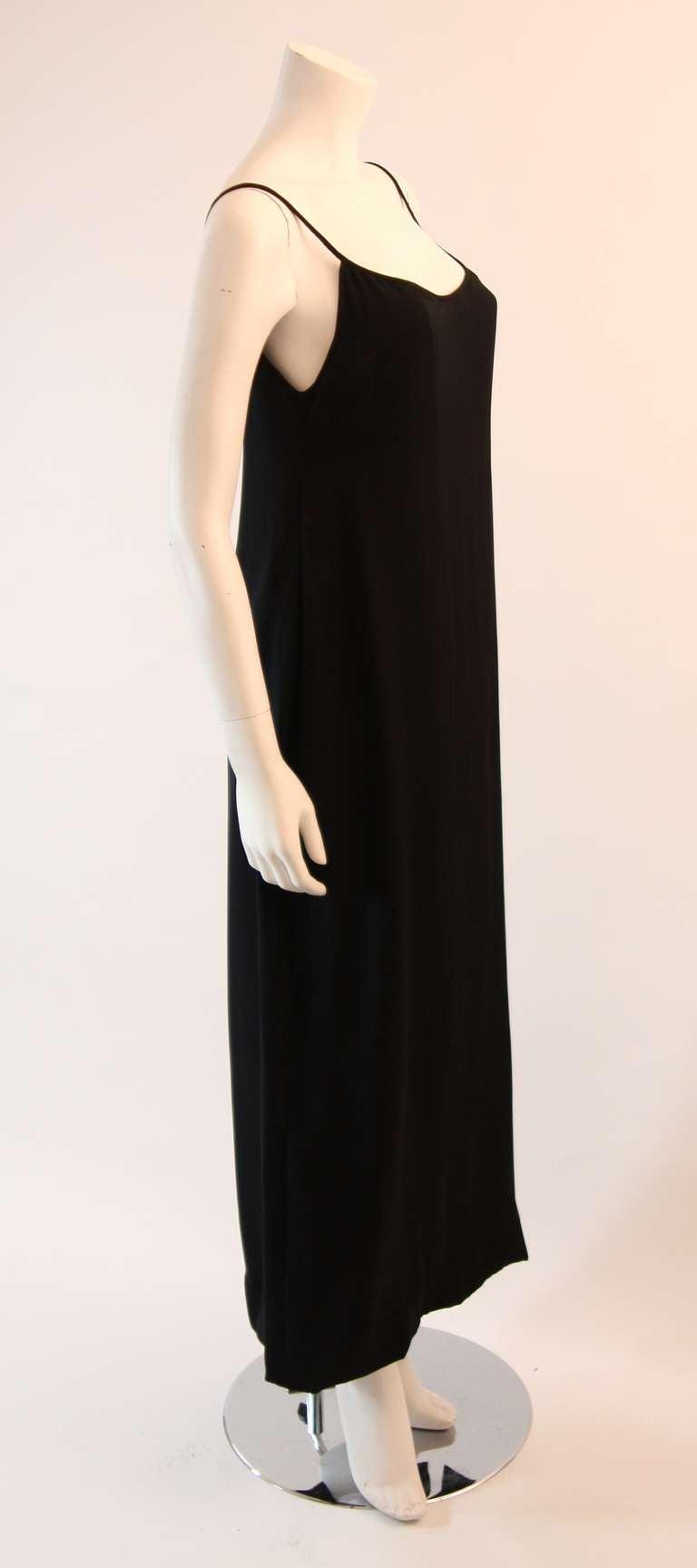 Sleek Galanos Black Silk Spaghetti Strap Slip Gown 4