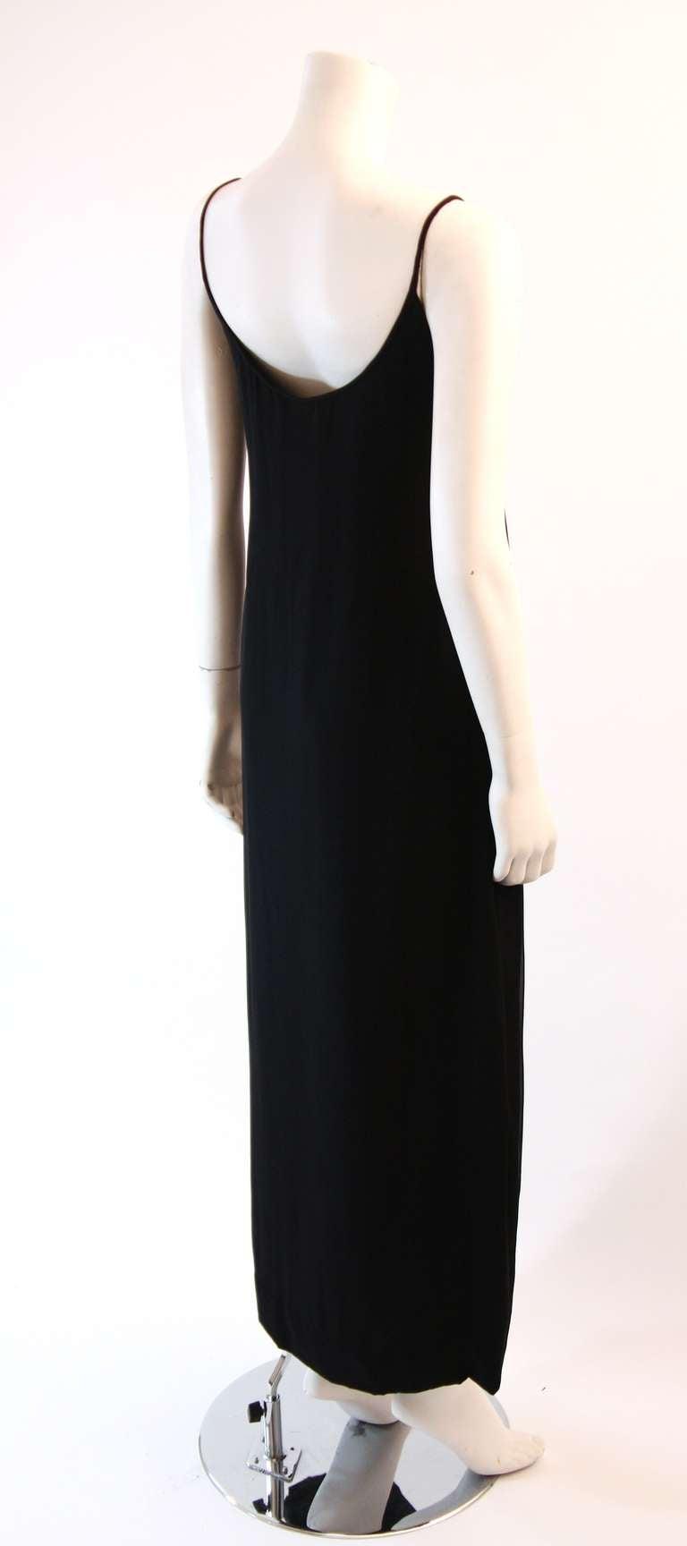 Sleek Galanos Black Silk Spaghetti Strap Slip Gown 5