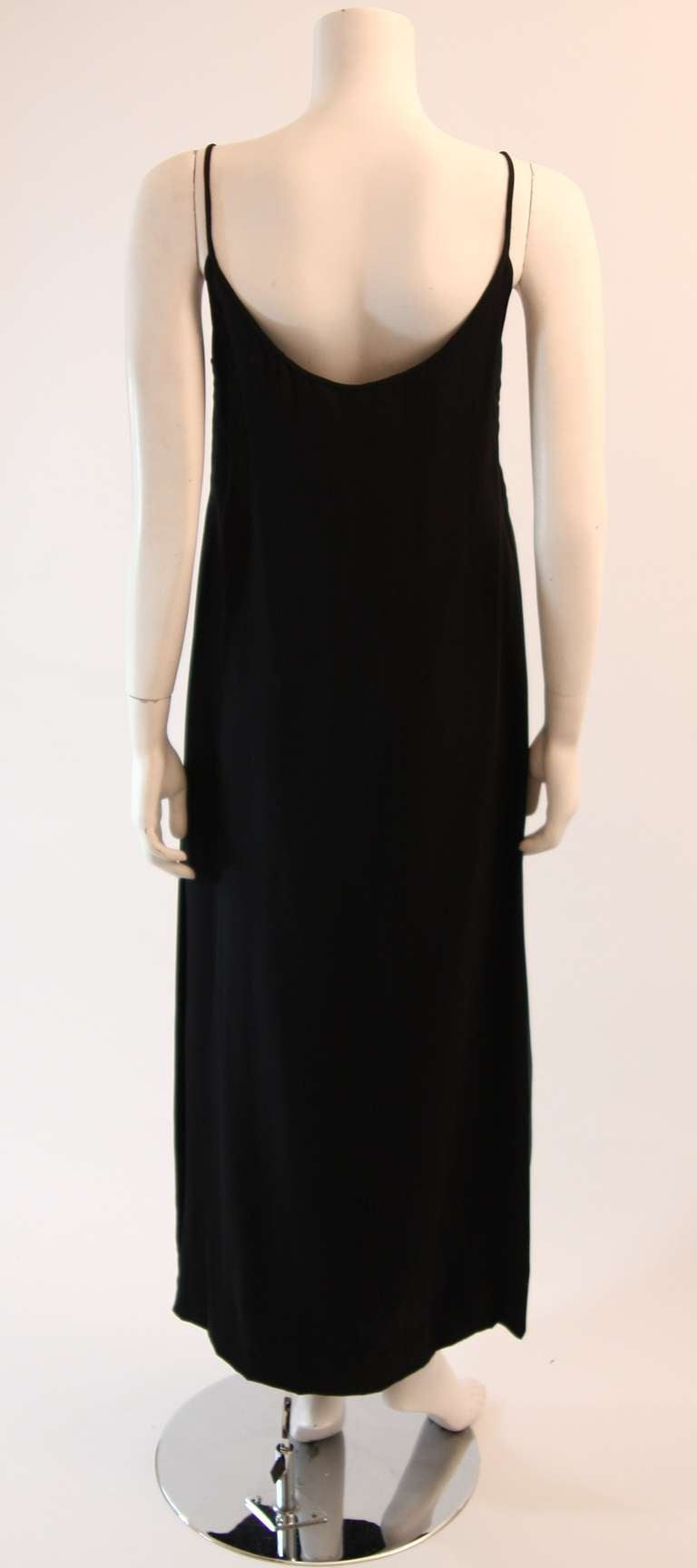 Sleek Galanos Black Silk Spaghetti Strap Slip Gown 6