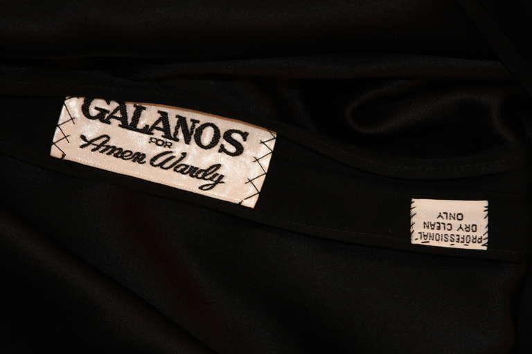 Sleek Galanos Black Silk Spaghetti Strap Slip Gown 7