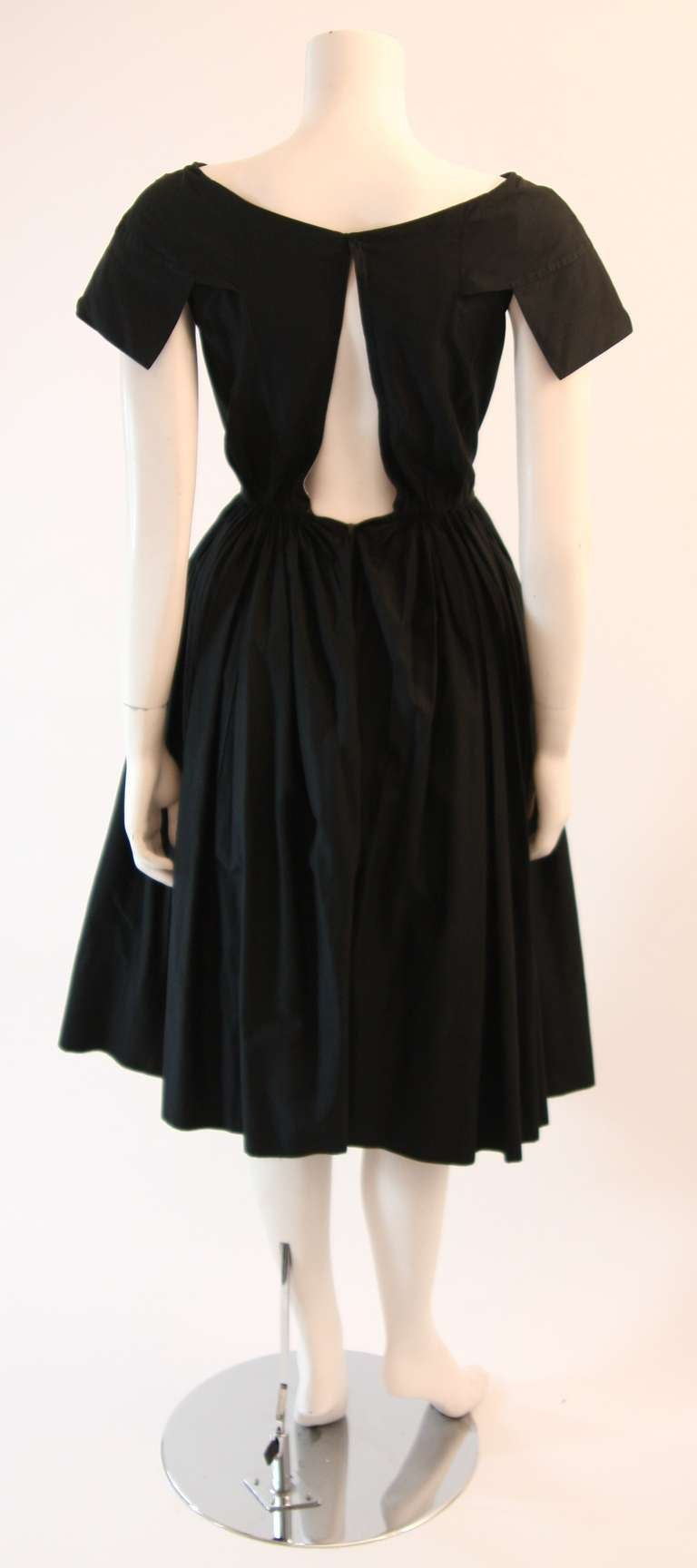 Lovely 1950 S Galanos Black Boat Neck Dress For Sale At