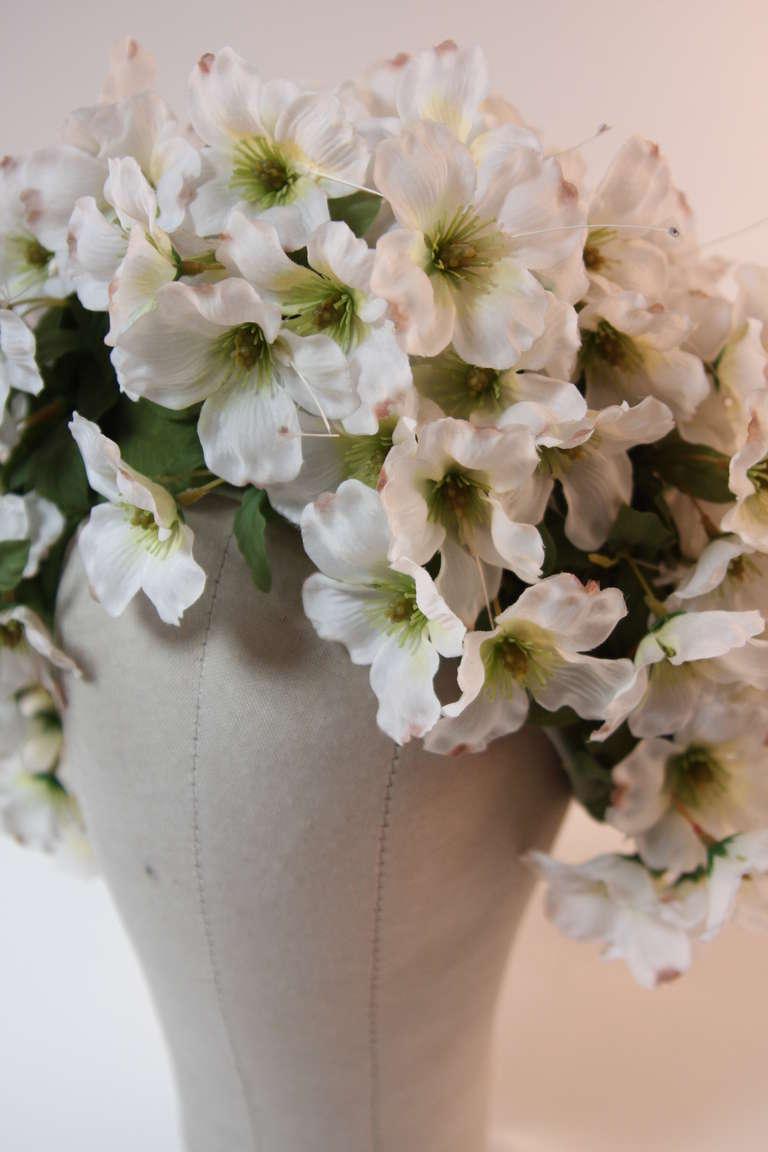 Beige 1960's Jack McConnell Playful Floral Bouquet Hat For Sale