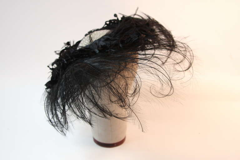 Upon a Time 1930's Dramatic Black Egret Feather Brim Net Crown & Silk Tendrils 2