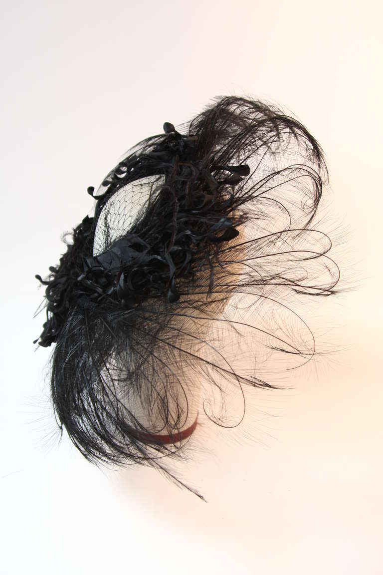 Upon a Time 1930's Dramatic Black Egret Feather Brim Net Crown & Silk Tendrils 4