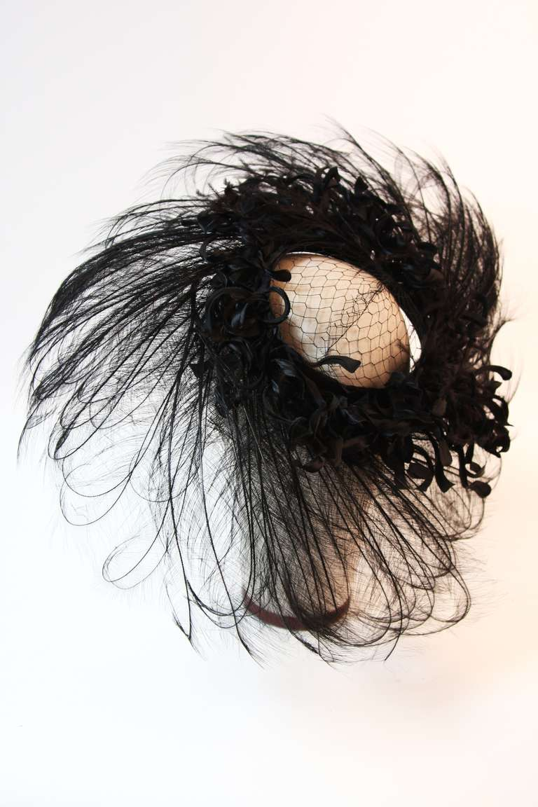 Upon a Time 1930's Dramatic Black Egret Feather Brim Net Crown & Silk Tendrils 8