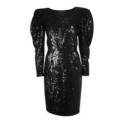 Vicky Tiel Black Sequin Cocktail Dress with Draped Sleeves & Lace Back Size 4 6