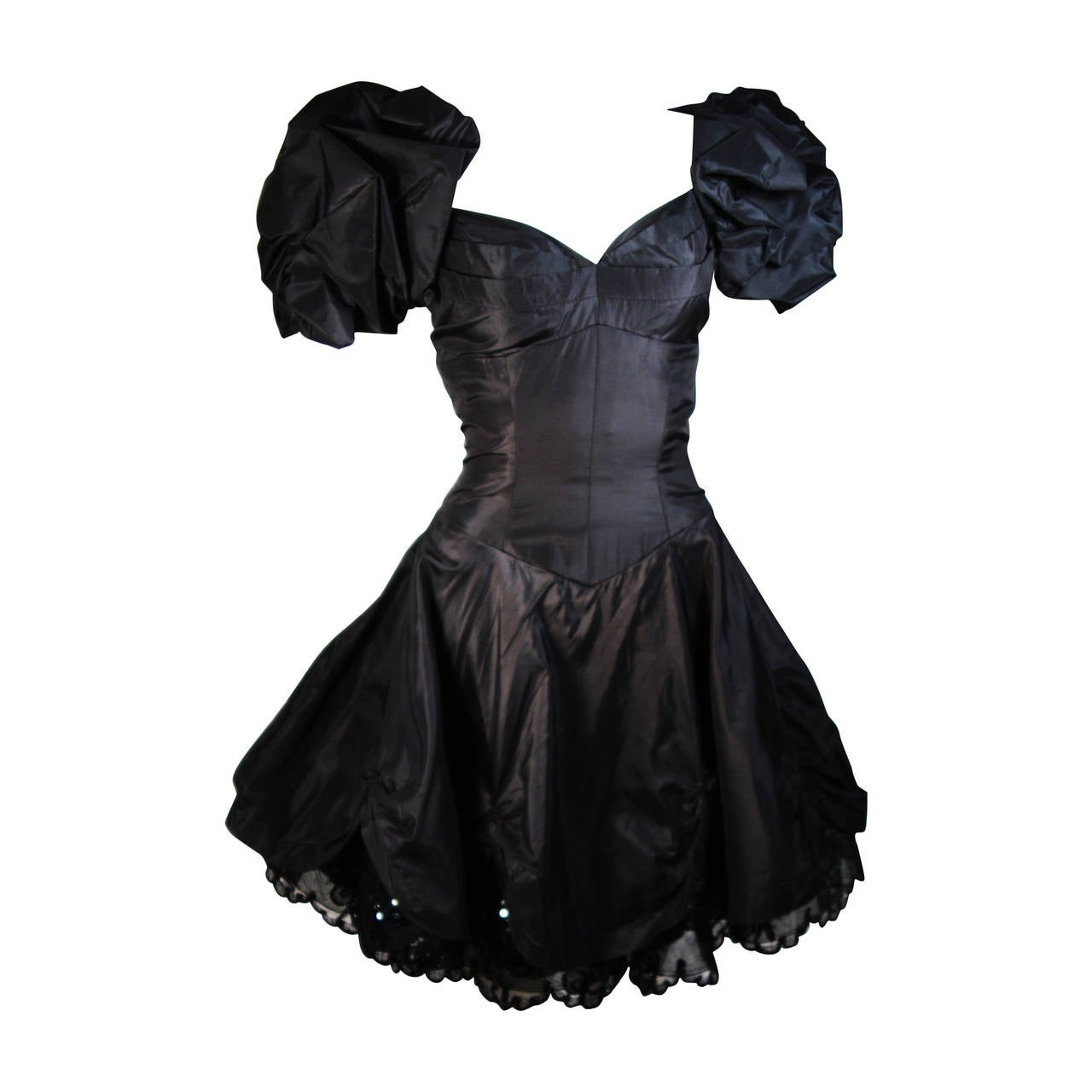 Vicky Tiel Black Silk Cocktail Dress with Draped Skirt and Sequin Lace Small